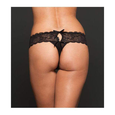 iCollection - Open Crotch Mesh Thong Queen (Black) Crotchless Panties 828099009168 CherryAffairs