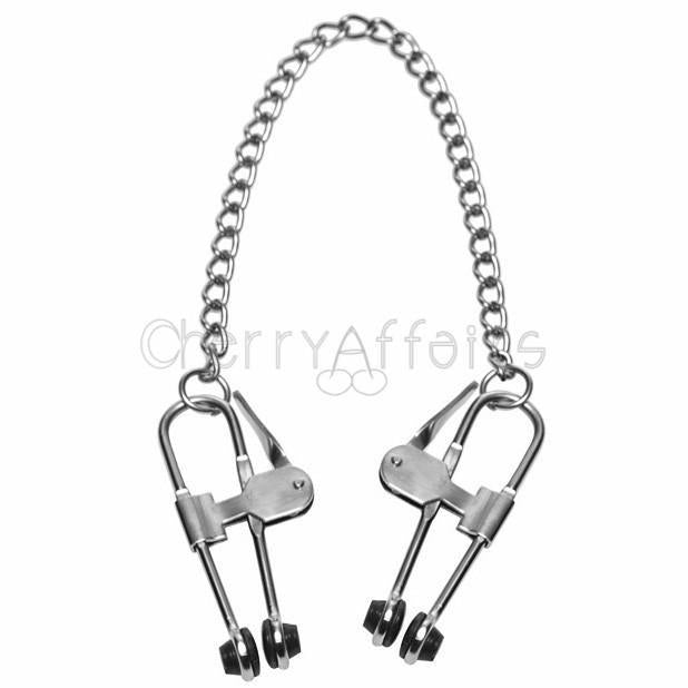 Master Series - Intensity Nipple Press Clamps With Chain Nipple Clamps (Non Vibration) - CherryAffairs Singapore