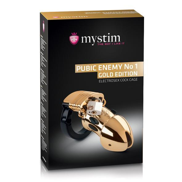 Mystim - Pubic Enemy No 1 Electrosex Cock Cage (Gold) | CherryAffairs Singapore