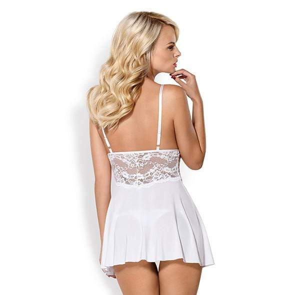 Obsessive - 810-Bab-2 Babydoll and Thong XXL (White) Chemises 5901688222553 CherryAffairs