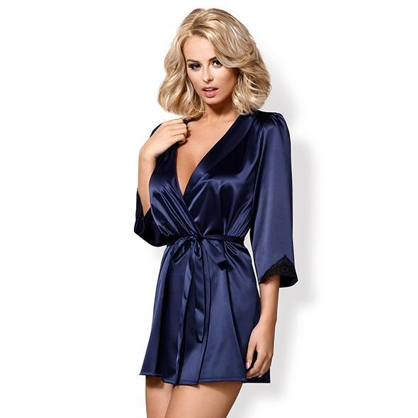 Obsessive - Satinia Robe & Thong S/M (Blue) | CherryAffairs Singapore