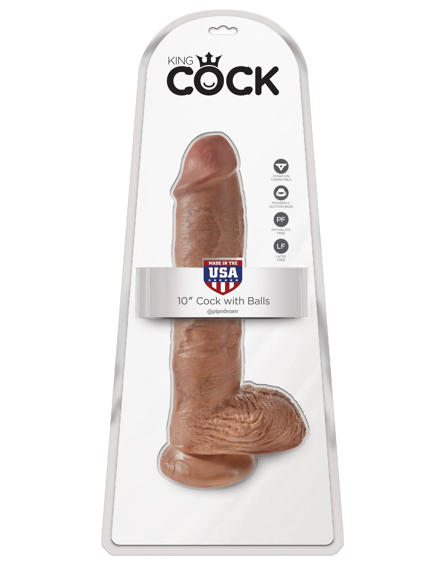 "Pipedream - King Cock 10"" Cock with Balls (Brown) Realistic Dildo with suction cup (Non Vibration) Singapore"