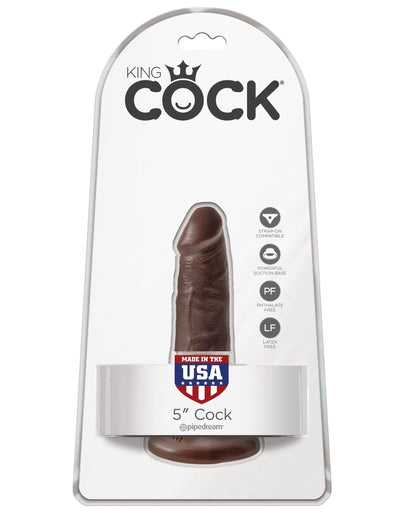 "Pipedream - King Cock 5"" Cock (Dark Brown) Realistic Dildo with suction cup (Non Vibration) Singapore"