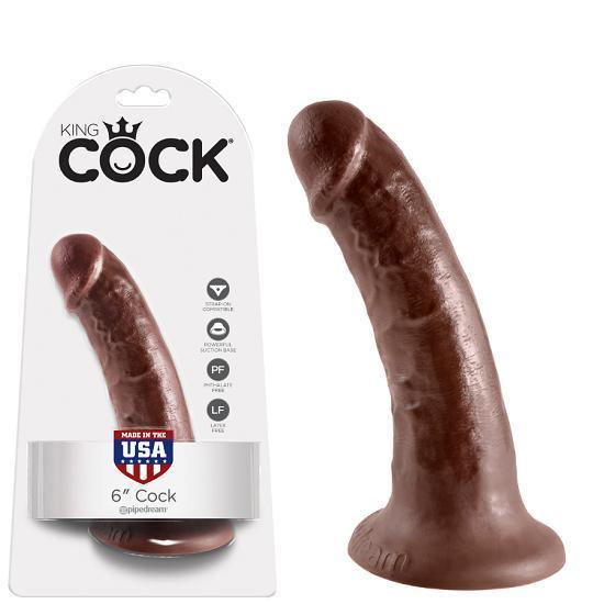 "Pipedream - King Cock Dildo 6"" (Brown) Realistic Dildo with suction cup (Non Vibration) Singapore"