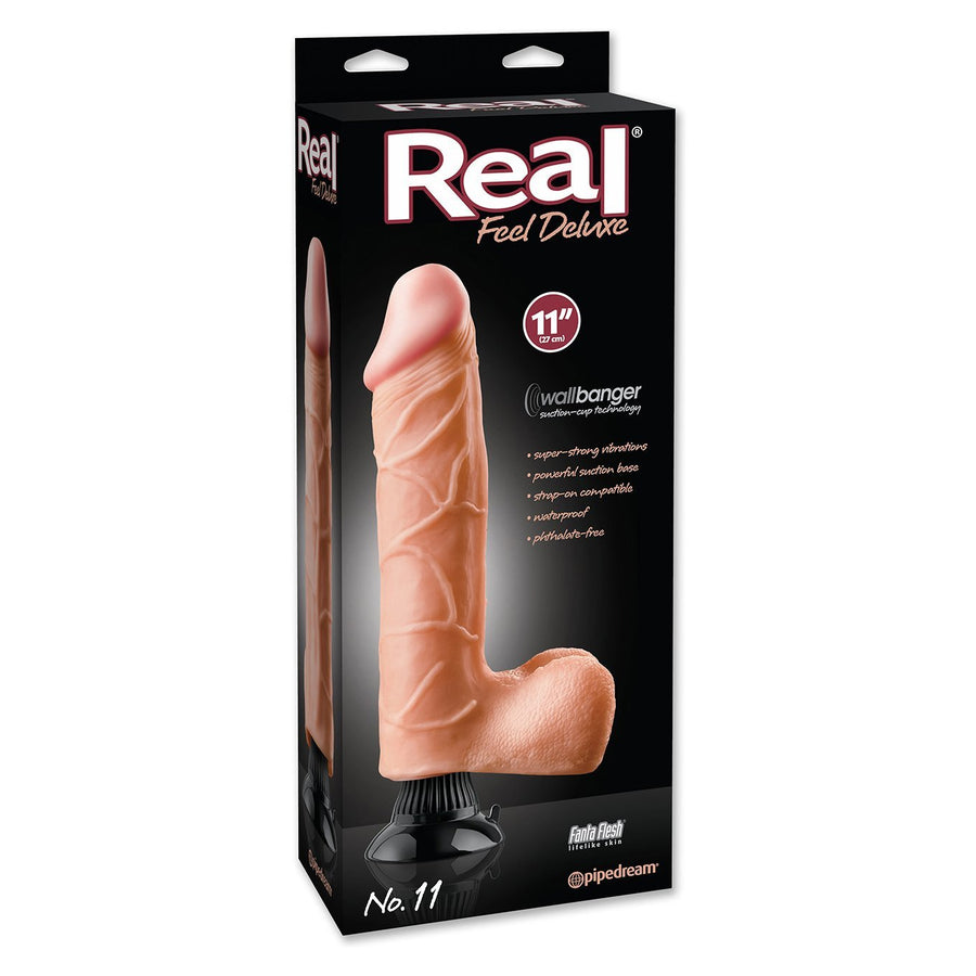 "Pipedream - Real Feel Deluxe No. 11 Vibrating Dildo 11"" (Flesh) Realistic Dildo with suction cup (Vibration) Non Rechargeable Singapore"