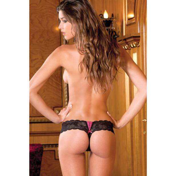 Rene Rofe - Crotchless Lace Thong with Lace Up Back M/L (Black) Lingerie (Non Vibration)