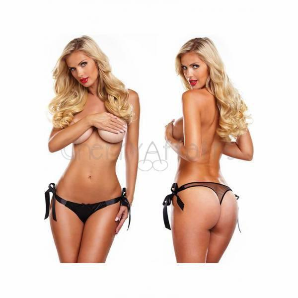 Secrets - Vibrating Side Tie Panty (Black) Lingerie (Vibration) Non Rechargeable - CherryAffairs Singapore