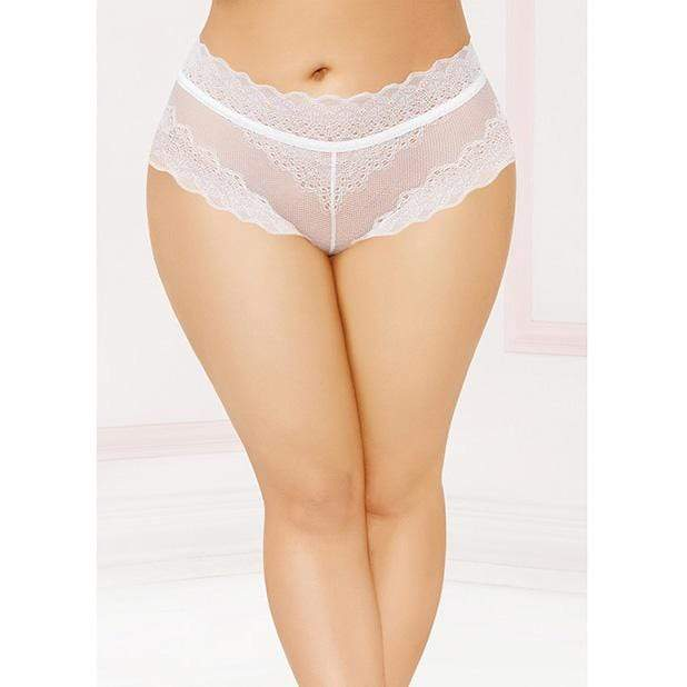 Seven til Midnight - High Waisted Panty with Lace Up Back 1X/2X (White) Lingerie (Non Vibration) 888208304966 CherryAffairs
