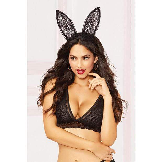 Seven til Midnight - Lace Bunny Ears O/S (Black) Costumes 888208306632 CherryAffairs