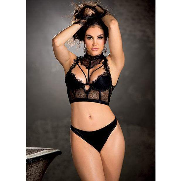 Shirley Of Hollywood - Eyelash Lace Crop Top with Under Wire Cups and High Neck Lace Detail L (Black) Chemises 760299375370 CherryAffairs