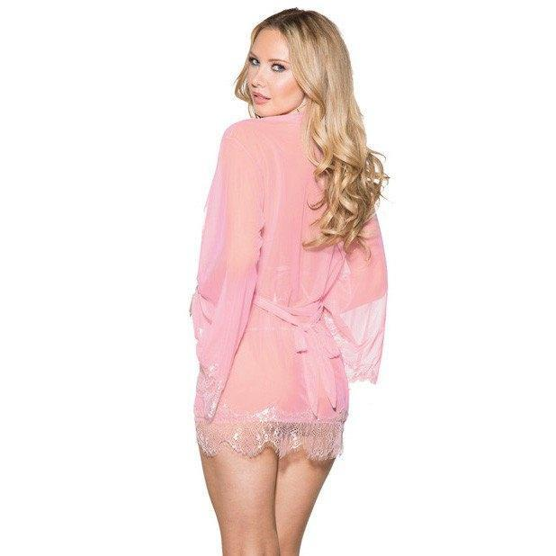 Shirley of Hollywood - Mesh Robe with Lace Trim Bell Sleeves, Tri Top & G-String Small (Pink) Chemises - CherryAffairs Singapore