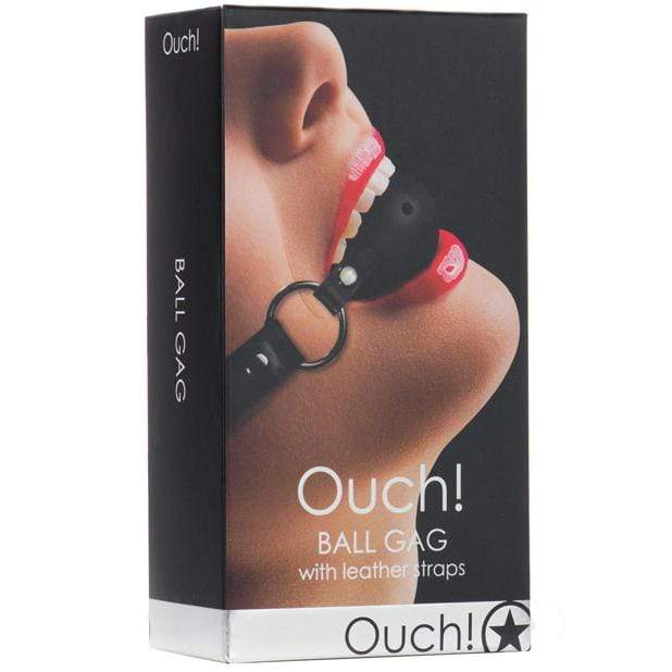 Shots - Ouch Ball Gag with Leather Straps (Black) Ball Gag