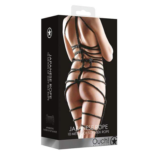 Shots - Ouch Soft Silk Japanese Rope 10m (Black) Rope 8714273927774 CherryAffairs