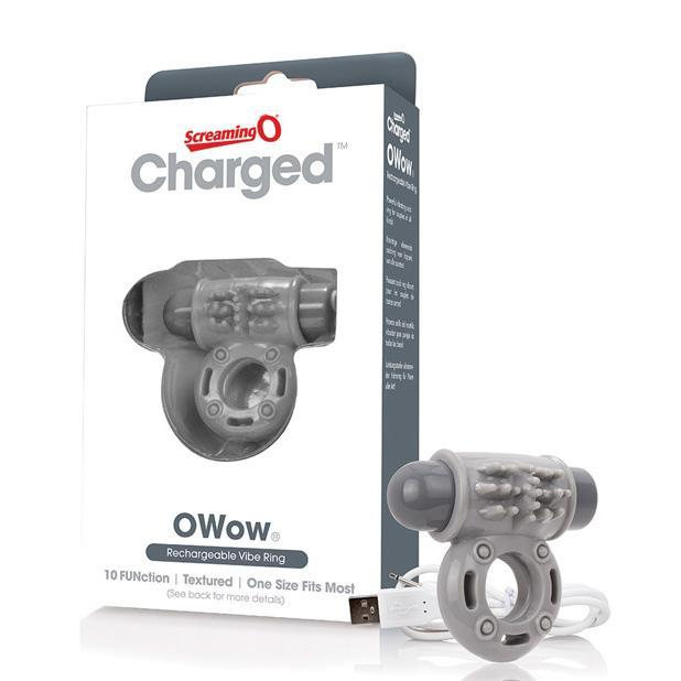 The Screaming O - Charged OWow Rechargeable Cock Ring (Grey) Rubber Cock Ring (Vibration) Rechargeable Singapore