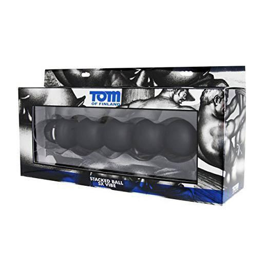 Tom of Finland - Stacked Ball Silicone Vibe 9.5 Inches (Black) Prostate Massager (Vibration) Non Rechargeable - CherryAffairs Singapore