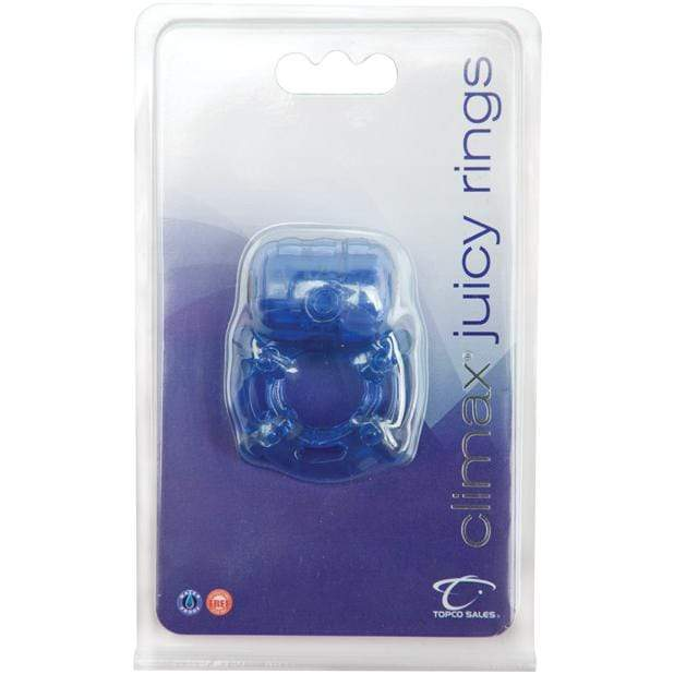 Topco - Climax Juicy Vibrating Cock Ring (Blue) Rubber Cock Ring (Vibration) Non Rechargeable