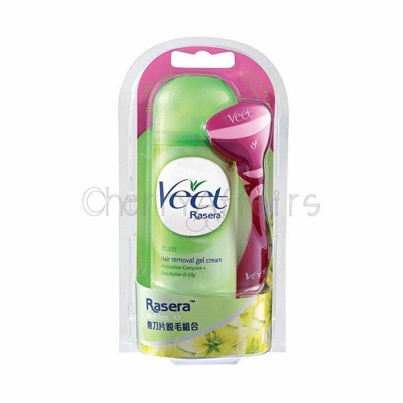 Veet - Rasera Bladeless Kit with Hair Removal Gel Cream for Dry Skin 150 ml Hair Removal Cream - CherryAffairs Singapore