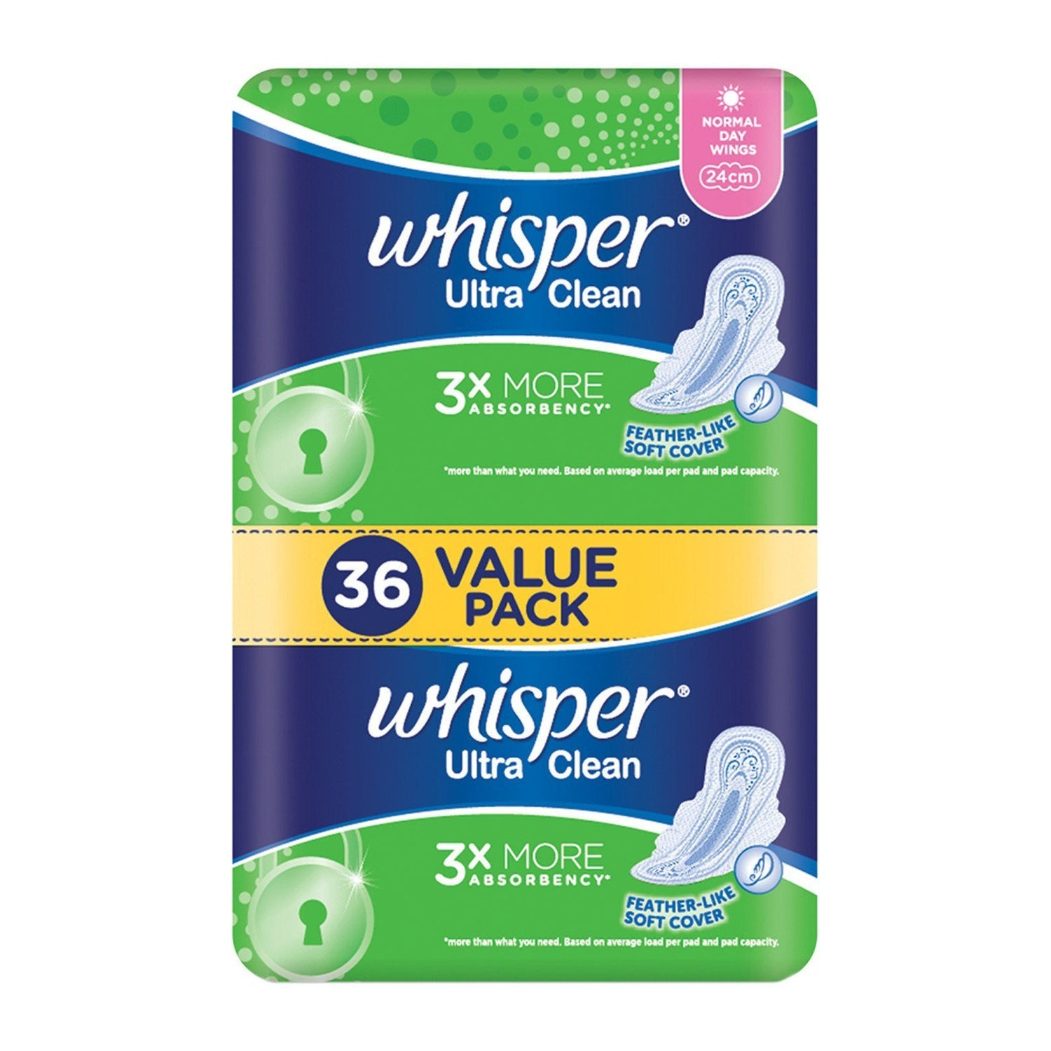 Whisper - Ultra Regular Flow Wing 36's Panty Liners - CherryAffairs Singapore