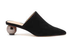 Pour La Victoire Kiera Sphere Mirrored Heel Open Black Pointed Toe Pump Mule