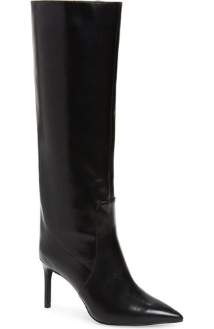 Jeffrey Campbell Arsen Stiletto Knee High Boot Black Leather Pointed Dress Boots