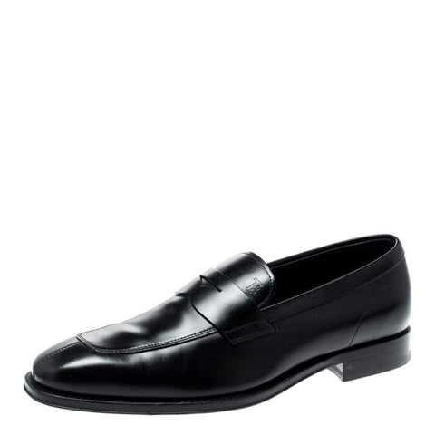 Tod's Men's MACRO Gommino Leather Moccasins Shoes, Black Penny Loafer (11.5 UK / 12.5 US, NERO)
