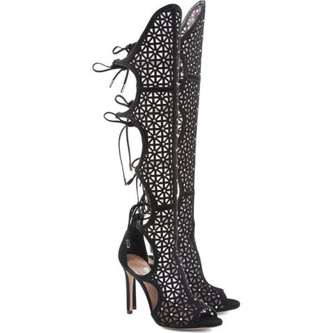 Schutz Jessa Black Suede Mesh Studded Peep Toe Knee High Heel Tie Back Gladiator