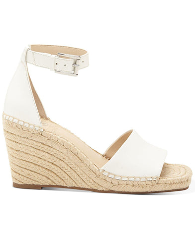 Vince Camuto Women's Maaza Wedge Leather Espadrille Ankle Strap Sandals PURE