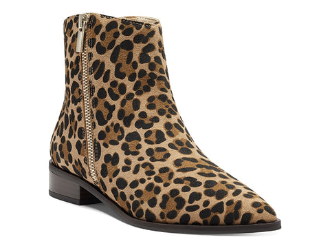 Sole Society Cadyna Leopard Ankle Booties Side Zip Bootie Brown Multi