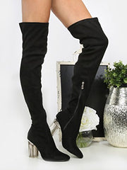 Cape Robbin Fay-2 Over The Knee Stretch Glass Heel Thigh High Boots (8, Black Suede)