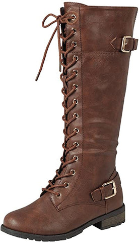 Forever Link Mango-27 Strappy Lace-Up Knee High Combat Stacked Heel Boot,Brown,