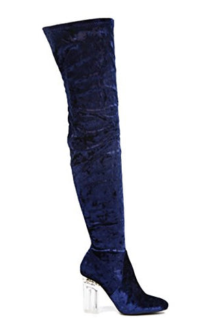 Cape Robbin Fay-2 Over The Knee Stretch Glass Heel Thigh High Boots (8, Blue velvet Fay-15)