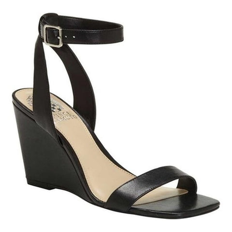 Vince Camuto Women's Gallanna Ankle Strap Wedge Sandal Black Leather