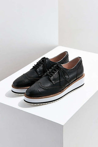 Shellys London Emma Black Leather Retro Platform Wingtip Leather Casual Oxford