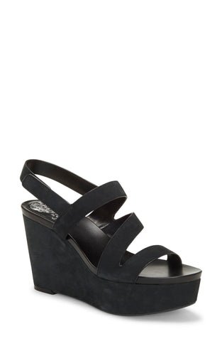 Vince Camuto Women's VELLEY Leather Ankle Strap Caged Strappy Flat Sandal BLACK
