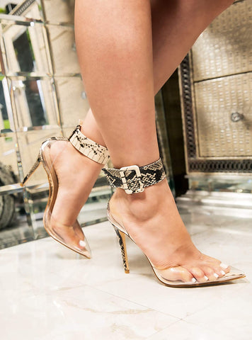 Cape Robbin HIgh Heel Nude Snake Pointed Toe Clear Transparent Ankle Strap Pumps