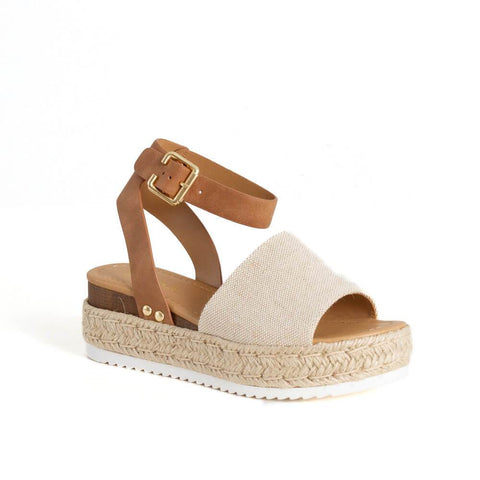 Soda Topic Open Toe  Ankle Strap Sandals, Beige Tan