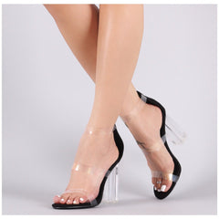 Cape Robbin Naked Black Transparent Triple Straps Patent Chunky Clear Heel
