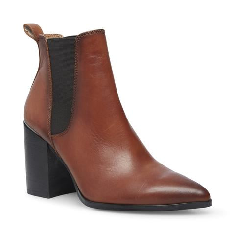 Steve Madden Women's Knoxi Pointed Toe Imported Side-zipper Bootie COGNAC LEATHER