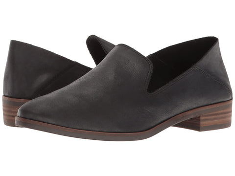 Lucky Brand  Cahill Slip on Flat Loafer Shoes Collapsable Mule Black Leather