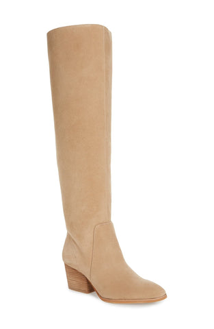 Vince Camuto Nestel Knee High Boot Taupe Suede Block Heel Knee High