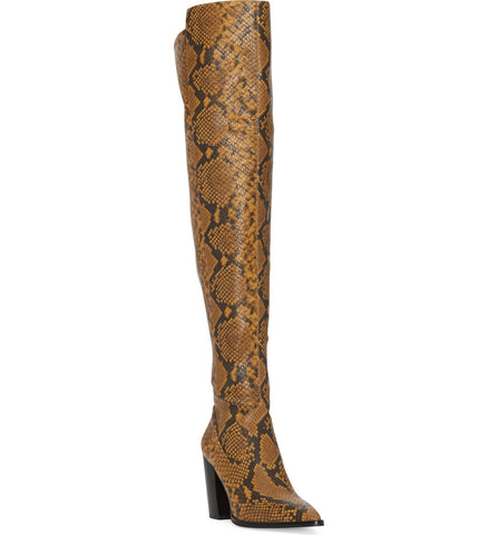 Vince Camuto Cottara SMOKEY BROWN Leather Pointed Toe Thigh-High Boot