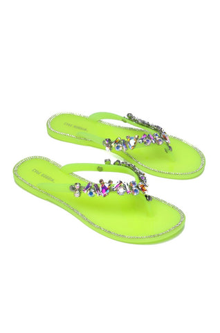 Cape Robbin WOMEN'S BELLAGIO JELLY SANDAL LIME YELLOW FLIP FLOP JEWEL SANDALS