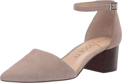 Sole Society Women's KATARINA Ankle Strap Stacked Heel Pumps Shoes TAUPE