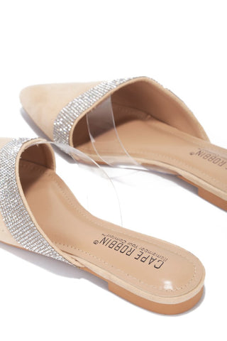 Cape Robbin Cici Nude Rhinestone Clear Flat Mules Slip On Pointed Slides