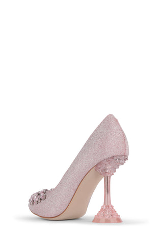 Jeffrey Campbell Lure Bejeweled Lucite Heel Pumps, PINK GLITTER PINK