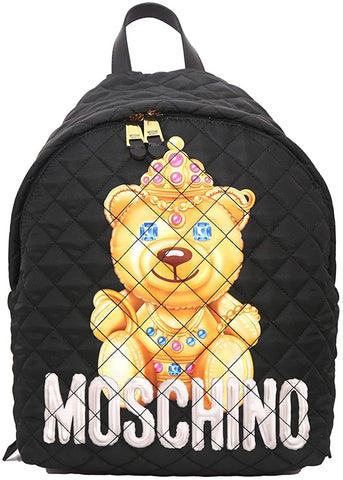 Moschino Black Quilted Teddy Bear Handbag Backpack BLACK 761582051555