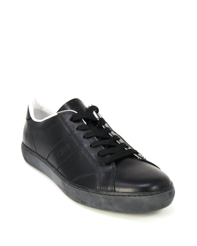 Tod's Men's Allacciato Leather Trainers Sneaker AMETISTA Black Leather Lace up