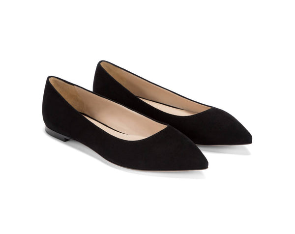 Bella Marie Angie-53 Black Suede Flats POinted Toe Slip On Casual Office