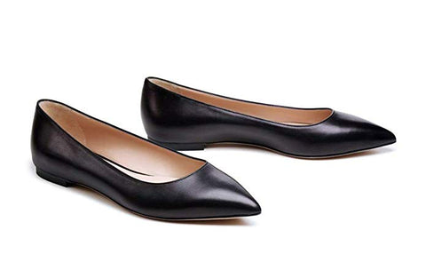 Bella Marie Angie-52 Black Classic Pointy Toe Ballet PU Slip On Flats