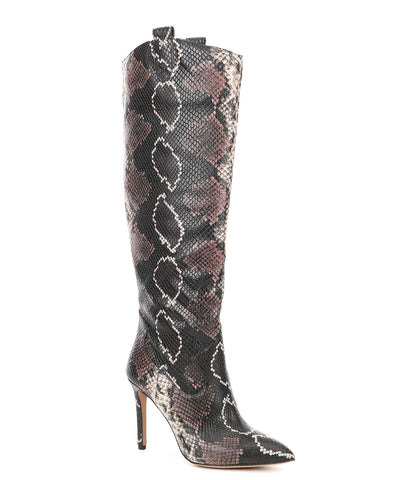 Vince Camuto Kervana Snake Embossed Pointed toe Knee High Leather Dress Boot